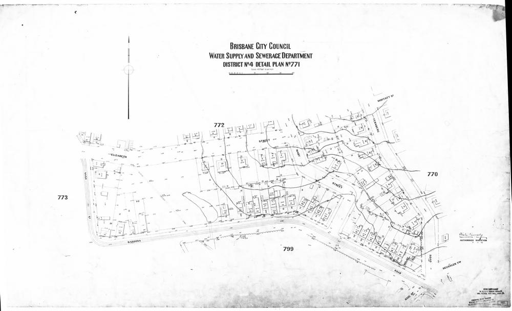Detail Plan no. 771, showing the area between Baroona Road and Elizabeth Street.