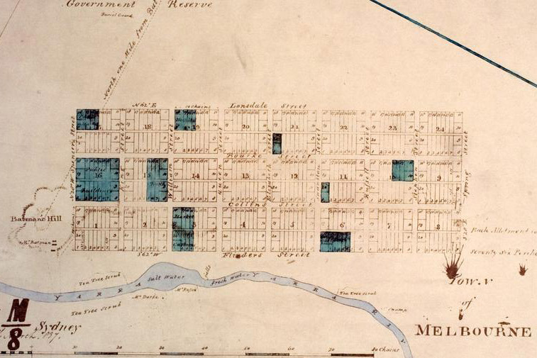 The town of Melbourne as surveyed by Robert Hoddle in 1837.