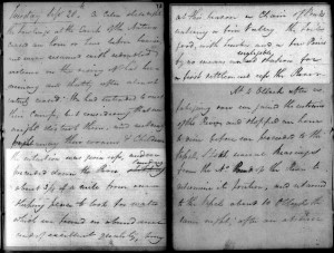 Pages from John Oxley's diary of his expedition up the Brisbane River in September 1824 (Mitchell Library, State Library of NSW: ML C246)