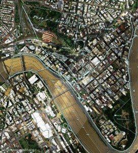 A plan of the town limits from 1843 overlaid on an aerial photo from January 2011.