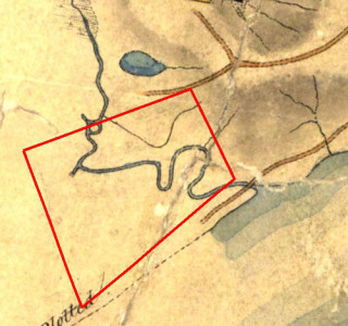 Part of Henry Wade's map from 1844, showing the extent of the CDOP site.