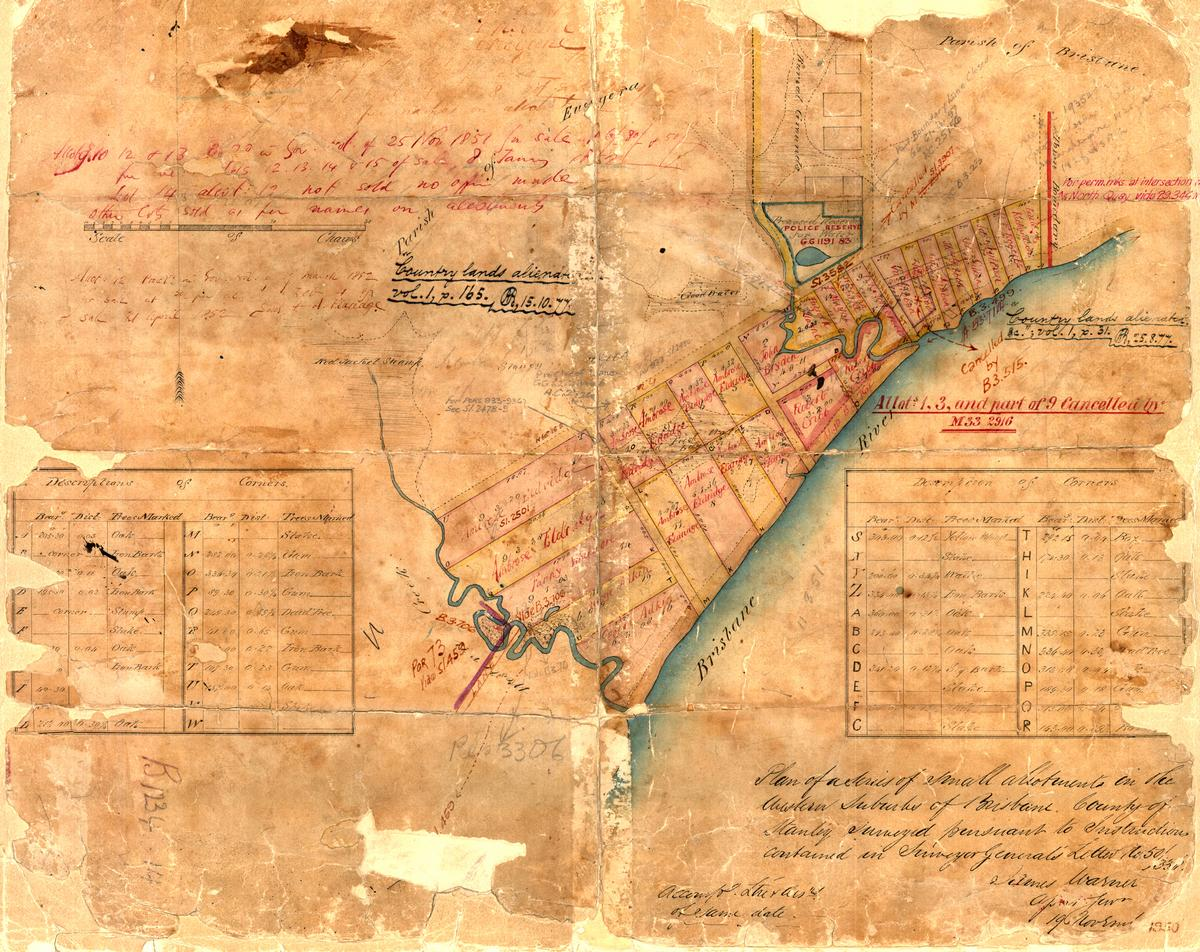 Surveyor James Warner's plan of the Milton area in 1850, held by the Queensland Museum of Lands, Mapping and Surveying (B1234 14).