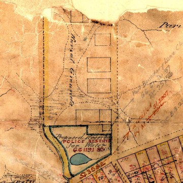 The swampy area of Boundary Creek, Milton, as depicted in 1850. The area was first used as a cemetery, and is now Suncorp Stadium.