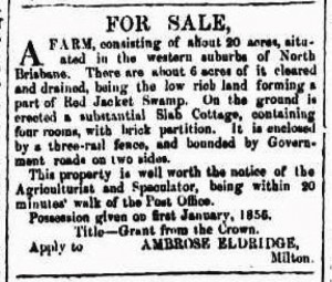 An adverstisement placed in The Brisbane Courier by Ambrose Eldridge in 1855.