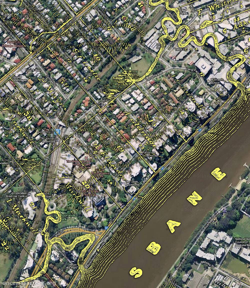 The Auchenflower area, as depicted on a map from 1859 as depicted on a map from 1859 (Queensland State Archives, Item ID620656), overlaid on Google Maps.