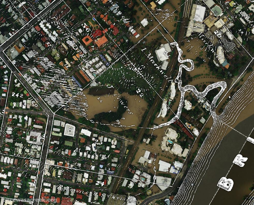 Langsville Creek, as depicted on a map from on a map from 1859 (Queensland State Archives Item ID620656), overlaid on an aerial photograph of the January 2011 flood (Department of Natural Resouces & Mines)