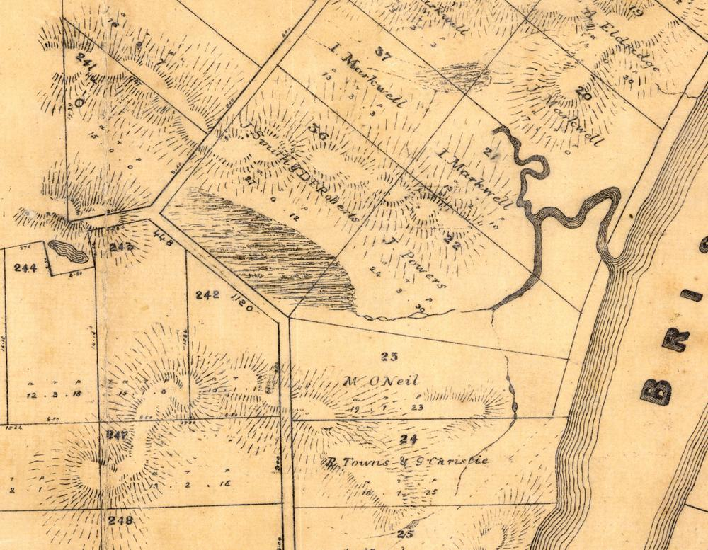 Langsville Creek as depicted on a map of the Parish of Enoggera, County of Stanley, from 1859.