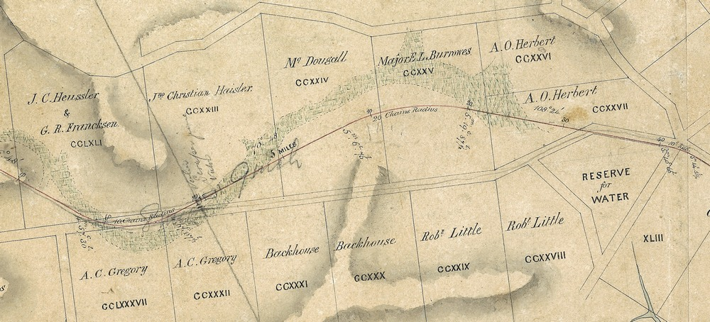 Portion of a map from 1864 showing path of Western Creek through what is now Norman Buchan Park, Government House (J.C. Heussler's property) and Rosalie. (Brisbane City Council Archives)