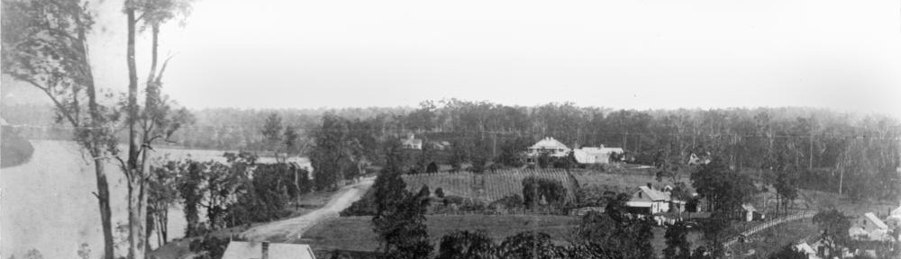 View of Milton, showing Milton House in the middle-right of the photo, 1874 (State Library of Queensland, Negative number: 66141)