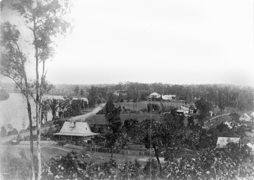 View of Milton, showing Milton House in the middle of the photo, 1874 (State Library of Queensland, Negative number: 66141)