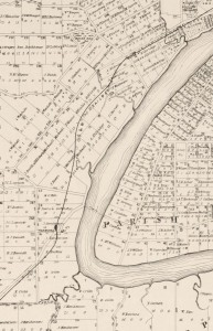 The Milton Reach of the Bisbane River, depicted on an 1884 map produced by the Queensland Surveyor General's Office ('Moreton 20 chains to an inch. Sheet 1B'. National Library of Australia: http://trove.nla.gov.au/work/11526397)