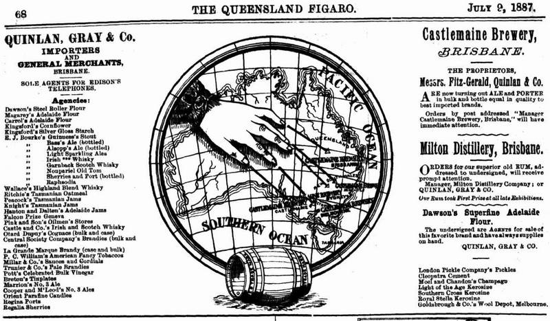 An advertisement published in 1887 for Quinlan, Gray & Co