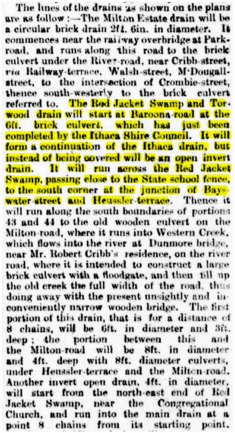 Clipping from The Brisbane Courier, 17 October 1890, describing the proposed Toowong Drainage Scheme. (Trove)