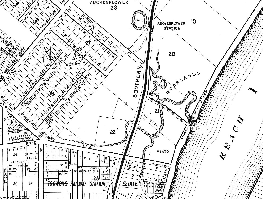 Langsville Creek as depicted on A.R. McKellar's map of Brisbane, published in 1895.