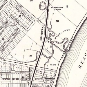 Langsville Creek, Auchenflower, depicted on McKellar's 1895 map of Brisbane (sourced from the Queensland Historical Atlas)