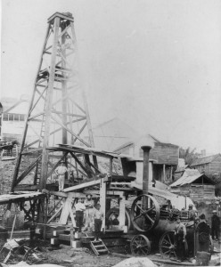 Sinking a water bore at the Castlemaine Brewery, Milton, Brisbane in 1895 (John Oxley Library, State Library of Queensland, Neg: 94888)