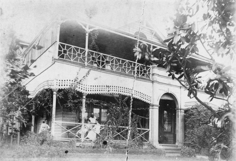 E.J. Bennett's and his family relaxing at the Poplars, c1895.