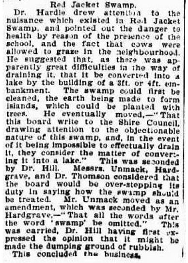 A clipping from The Brisbane Courier, 18 March 1896, reporting on a meeting of the Central Board of Health. (Trove)