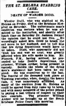 Henry Dodd's death as reported in the Brisbane Courier.