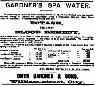 An ad for Gardner's Spa Water in The Brisbane Courier, 15 May 1901