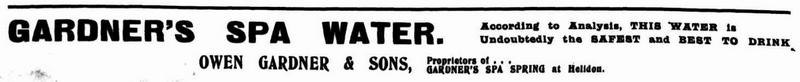 An ad for Gardner's Spa Water from the Queensland Figaro, 7 May 1903.