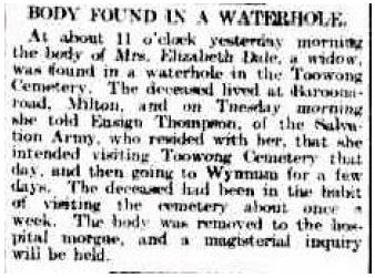 A report in the Brisbane Courier about the discovery of Elizabeth Dale's body.