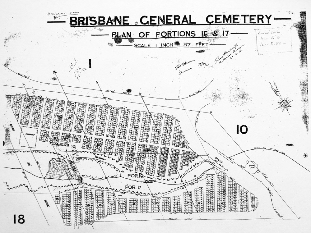 A plan of the dam in the Toowong Cemetery, dating from before 1905.