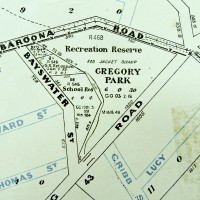 Gregory Park depicted on a map published by the Queensland Department of Public Lands. The base map is dated 1906, but additional roads appear to have been added at a later date. (Brisbane City Council Archives)