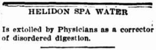 An ad for Helidon Spa printed in the Townsville Daily Bulletin in March 1908