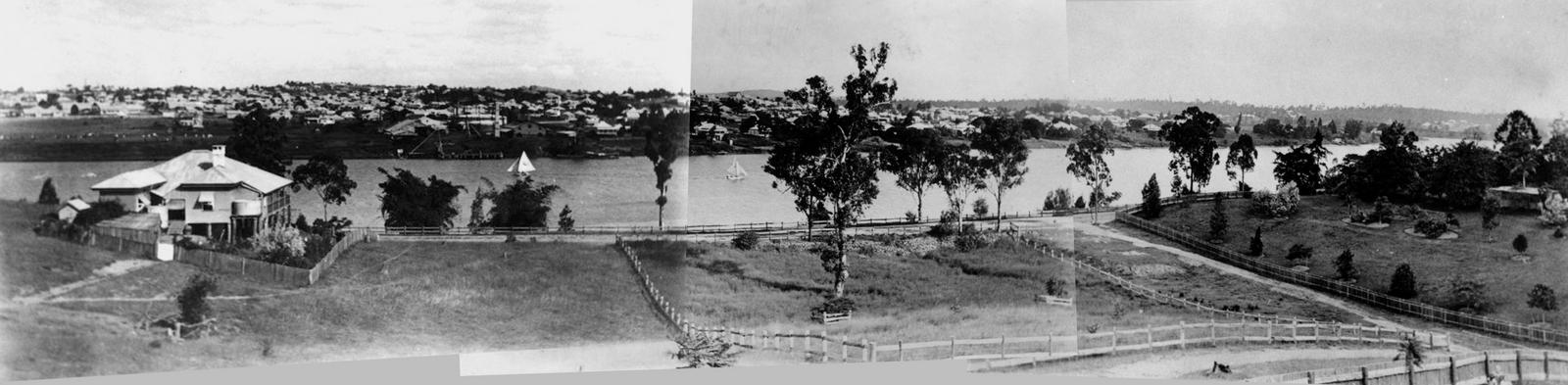 Panorama from Dunmore Terrace, 1910. (State Library of Queensland, Negatives 183967, 183958 and 183970)