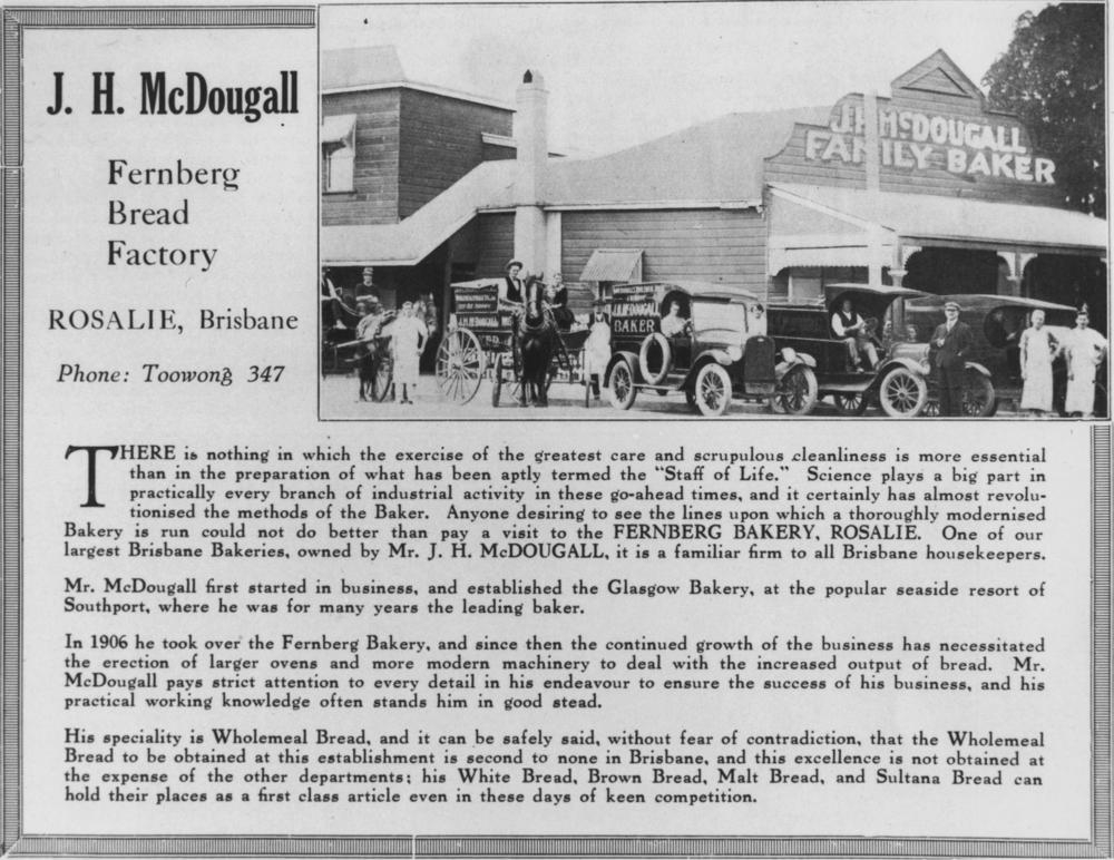 Advertisement for McDougall's bread factory on Fernberg Road, c1920. (State Library of Queensland, Image no. 109414))