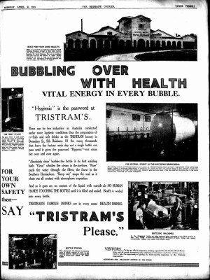 An advertisement for Tristram's Soft Drinks in The Brisbane Courier, 4 April 1933.