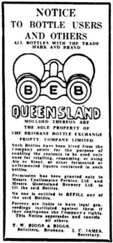 A notice from the Brisbane Bottle Exchange, published in the Courier Mail in 1941