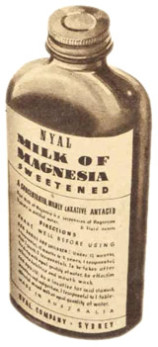 A bottle of Nyal Milk of Magnesia, depicted in an ad in the Women's Weekly in 1949