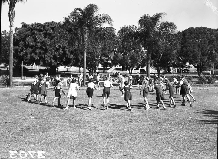 Milton State School, physical education activity, Brisbane, April 1951. (Queensland State Archives, Digital Image ID 1645. Caption supplied with photograph.)