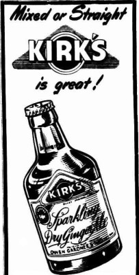 An ad for Kirk's Dry Ginger Ale published in 1952. The drink was then a product of Owen Gardner and Sons.