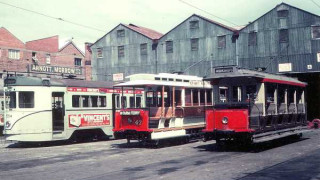 The tram workshops, 1968.