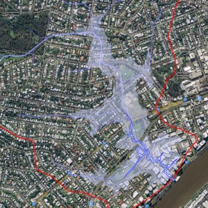 The extent of the 2011 flood in Western Creek (DERM / Google Maps)