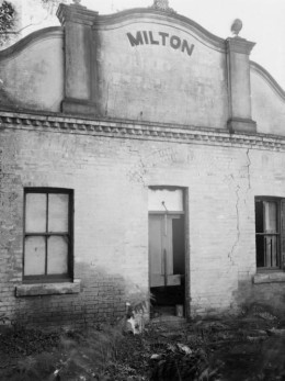 The front of the Milton Distillery building, still standing in 1949.