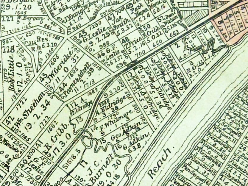 The area of present-day Milton, as depicted on a Brisbane parish map held by the Brisbane City Council Archives. (The map was published around 1900, but is thought to show the original land grants.)