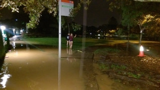 The path to the UQ Lakes bus stop, just before 8pm.