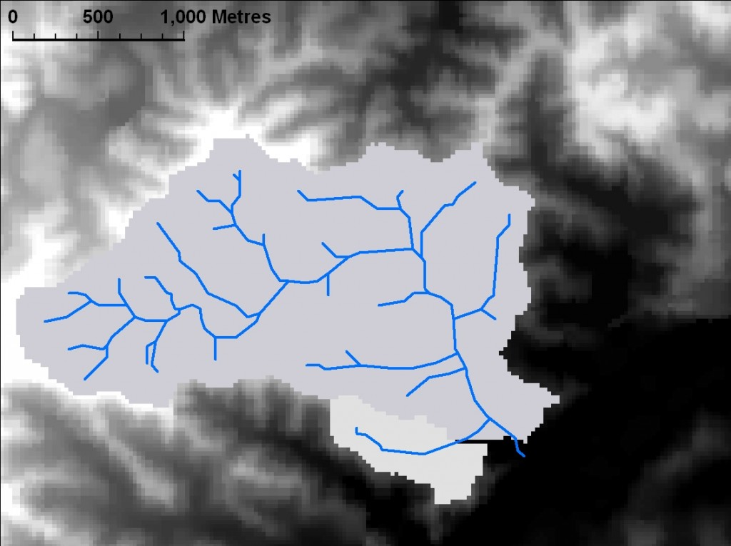 The catchment area for Western Creek, as calculated by ArcMap based on the DEM and derived flow information.