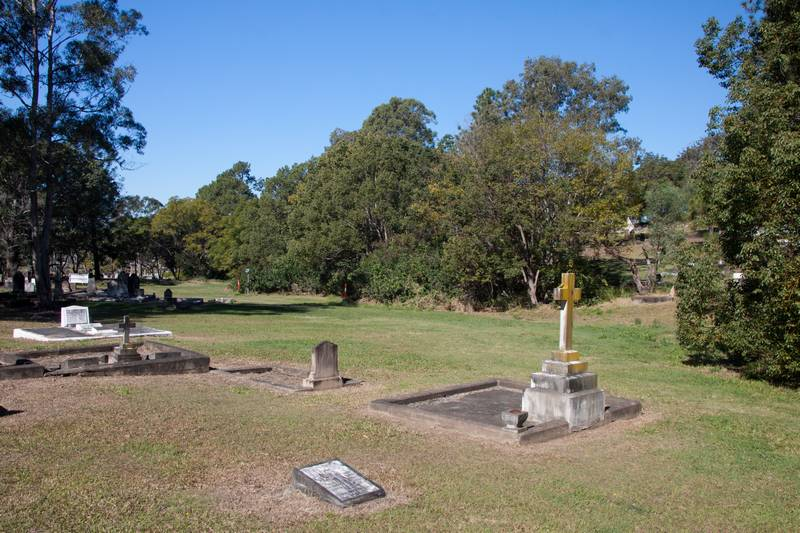 Portion 16 of the cemetery, where there is a remaining fragment of the old creek (Looking towards the south.)