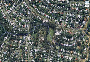Aerial view of the creek from the Couldrey Street clearing to the Boundary Road roundabout