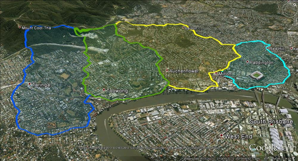 The catchments of the Crescent Reach. From left to right: Toowong Creek, Langsville Creek, Western Creek and Boundary Creek.