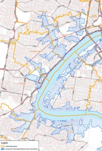 The 2011 floodline along the Crescent Reach (Brisbane City Council interim flood level maps)