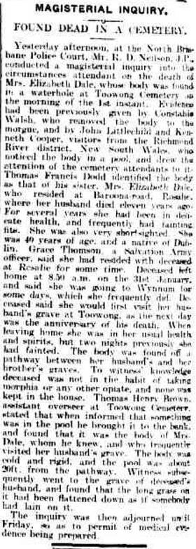One of two reports in the Brisbane Courier about the inquest into Elizabeth Dale's death. Whether the headline was supposed to be ironic is unclear.