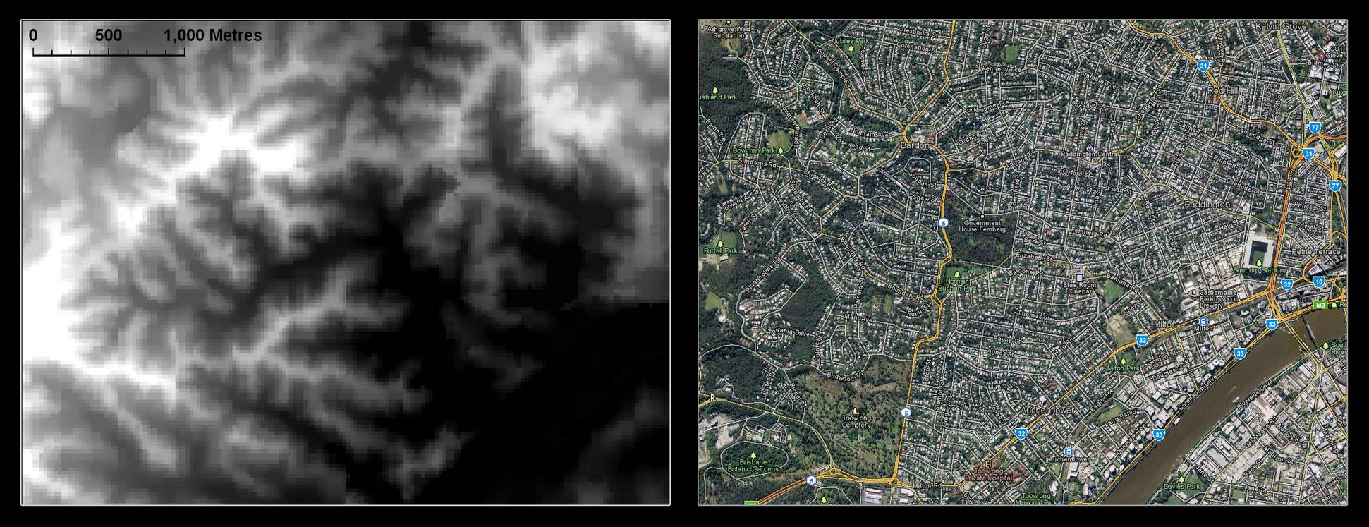 The digital elevation model (DEM) of the Western Creek area, shown beside an aerial image from Google Maps.