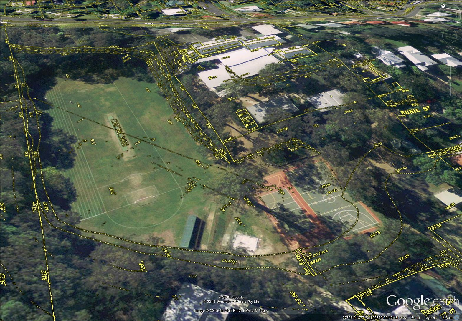 A gully (Western Creek) running around the playing field of Rainworth State School, as shown on the City Council's 'Detail Plains' from the 1940s.