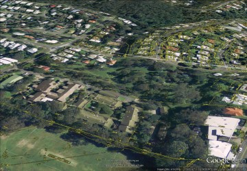 The path of Western Creek from Couldrey Street to Rainworth State School, showing features from the City Council's 'Detail Plans' from the 1940s.